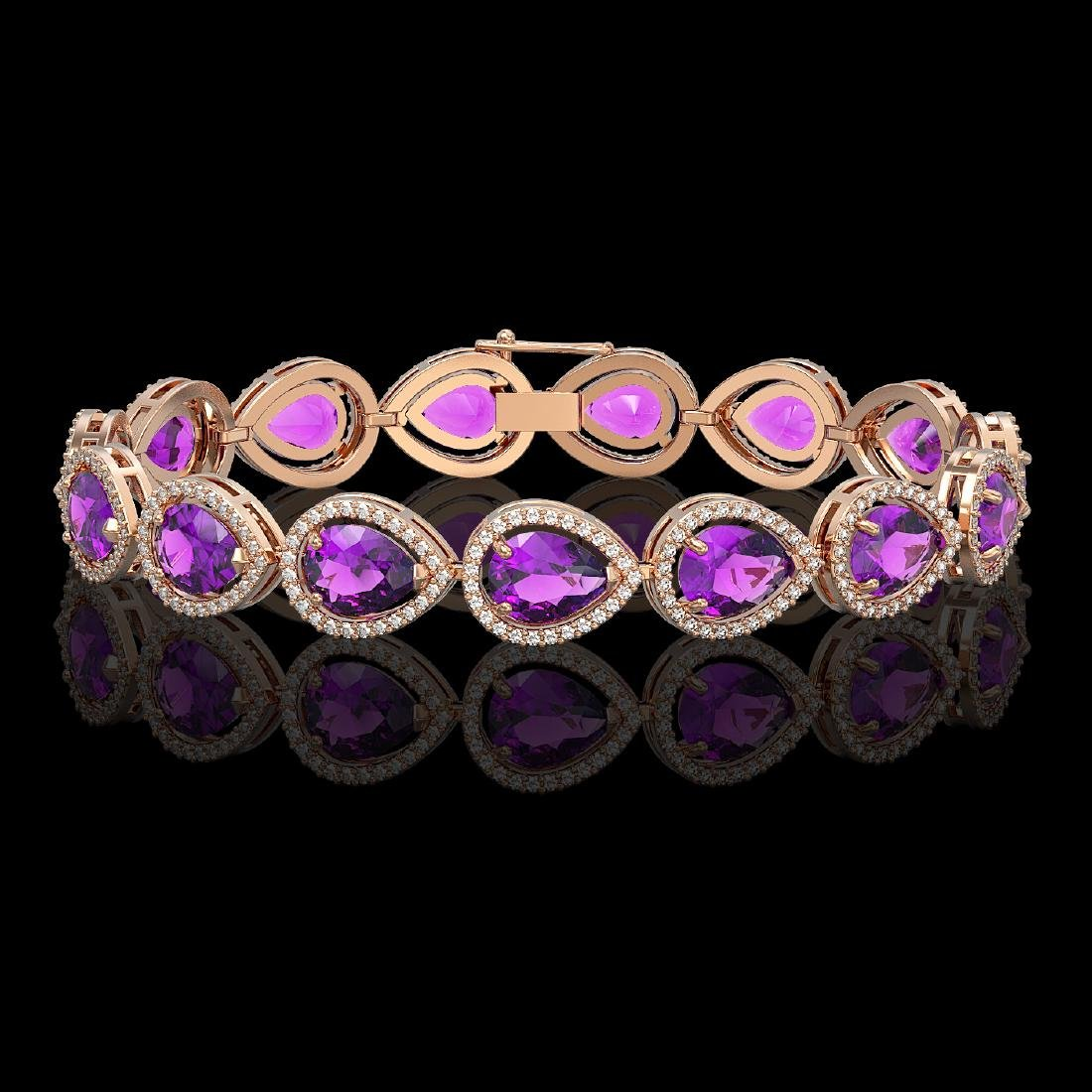 20.3 CTW Amethyst & Diamond Halo Bracelet 10K Rose Gold