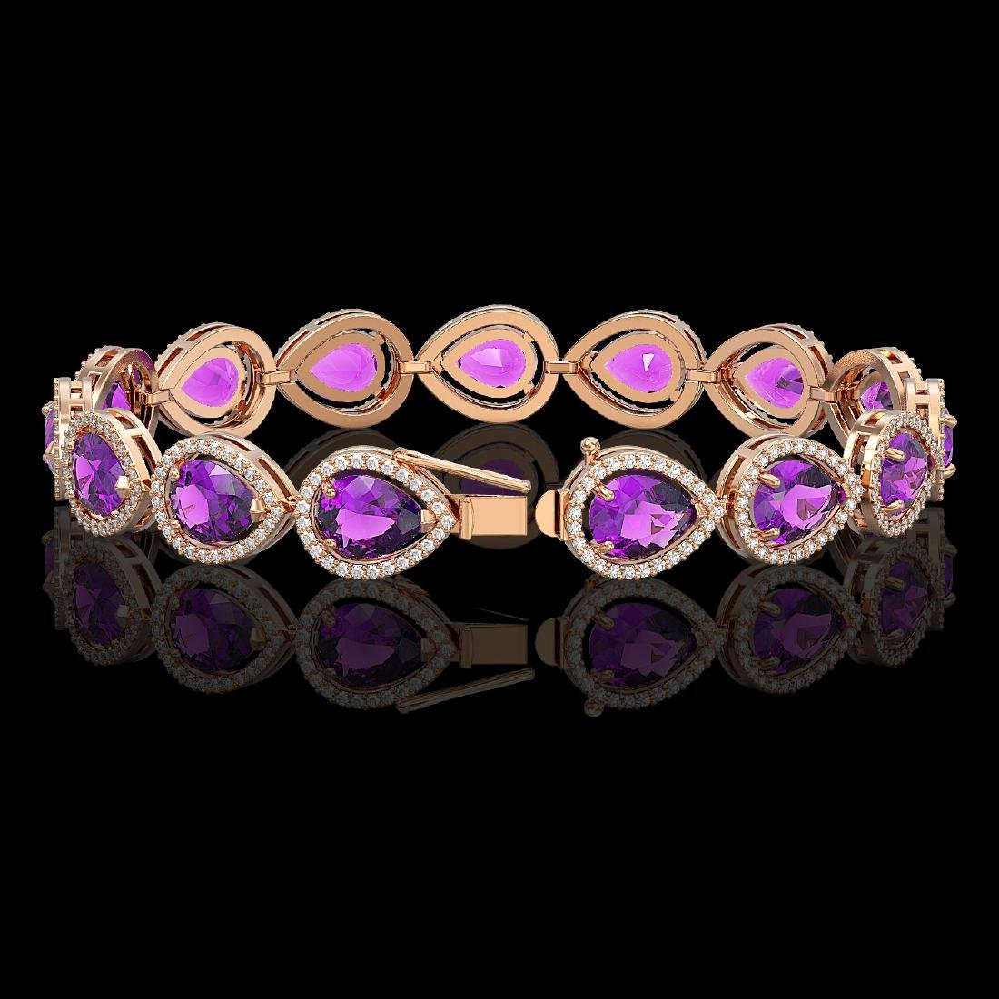 20.3 CTW Amethyst & Diamond Halo Bracelet 10K Rose Gold - 2