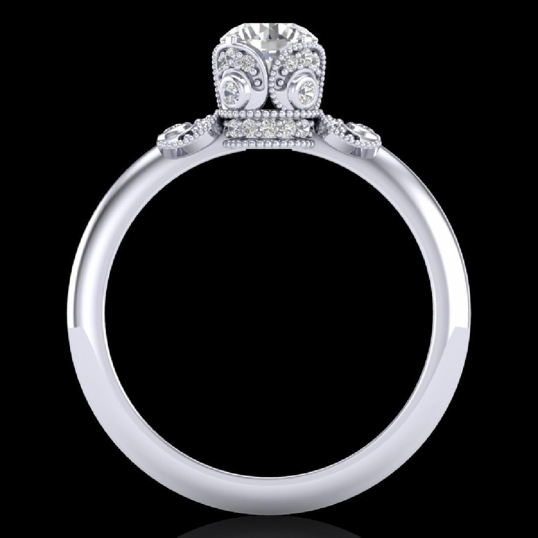 1 CTW VS/SI Diamond Solitaire Art Deco Ring 18K White - 2