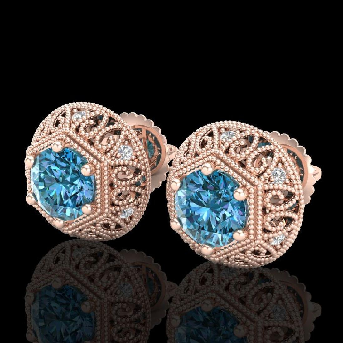 1.31 CTW Fancy Intense Blue Diamond Art Deco Stud