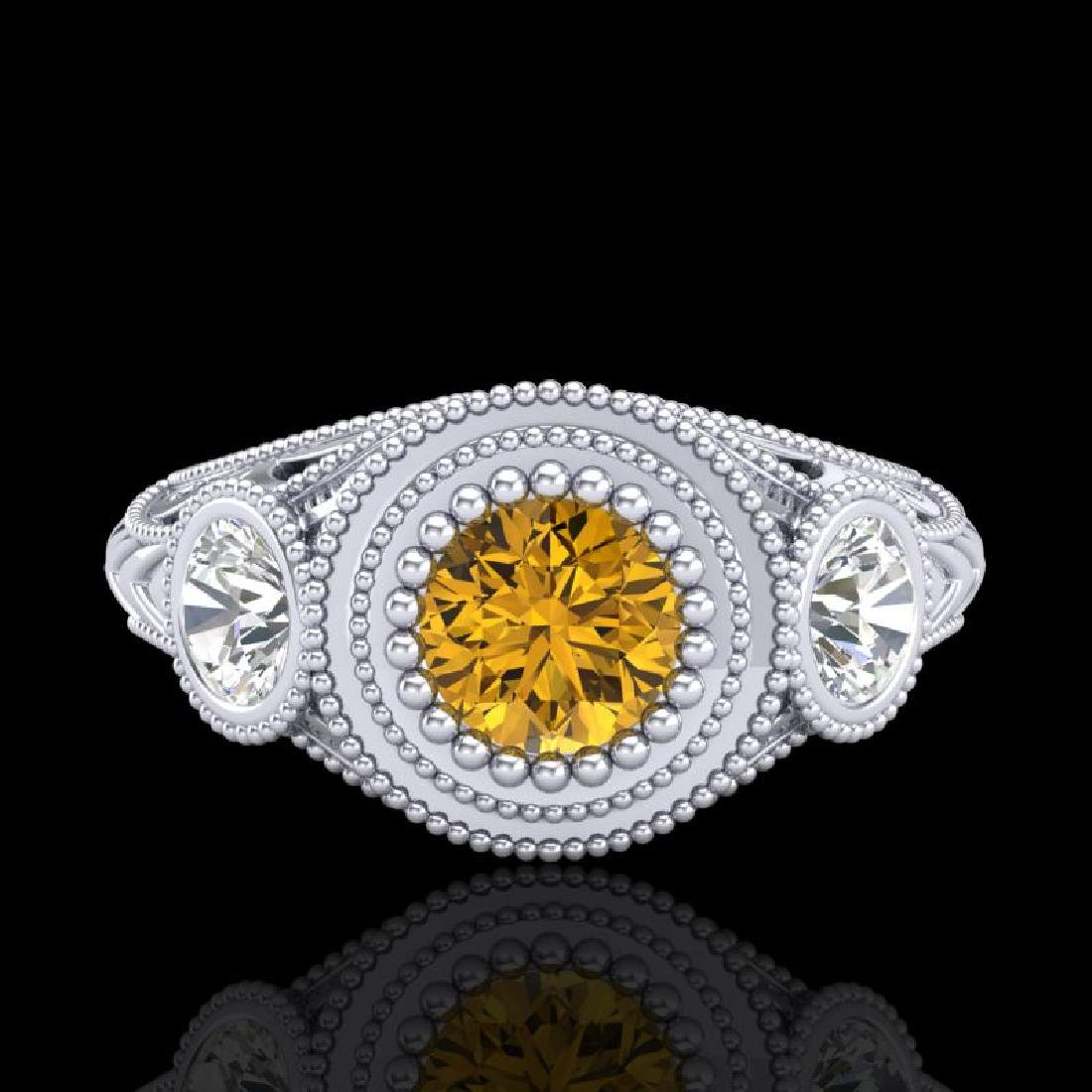 1.06 CTW Intense Fancy Yellow Diamond Art Deco 3 Stone - 2