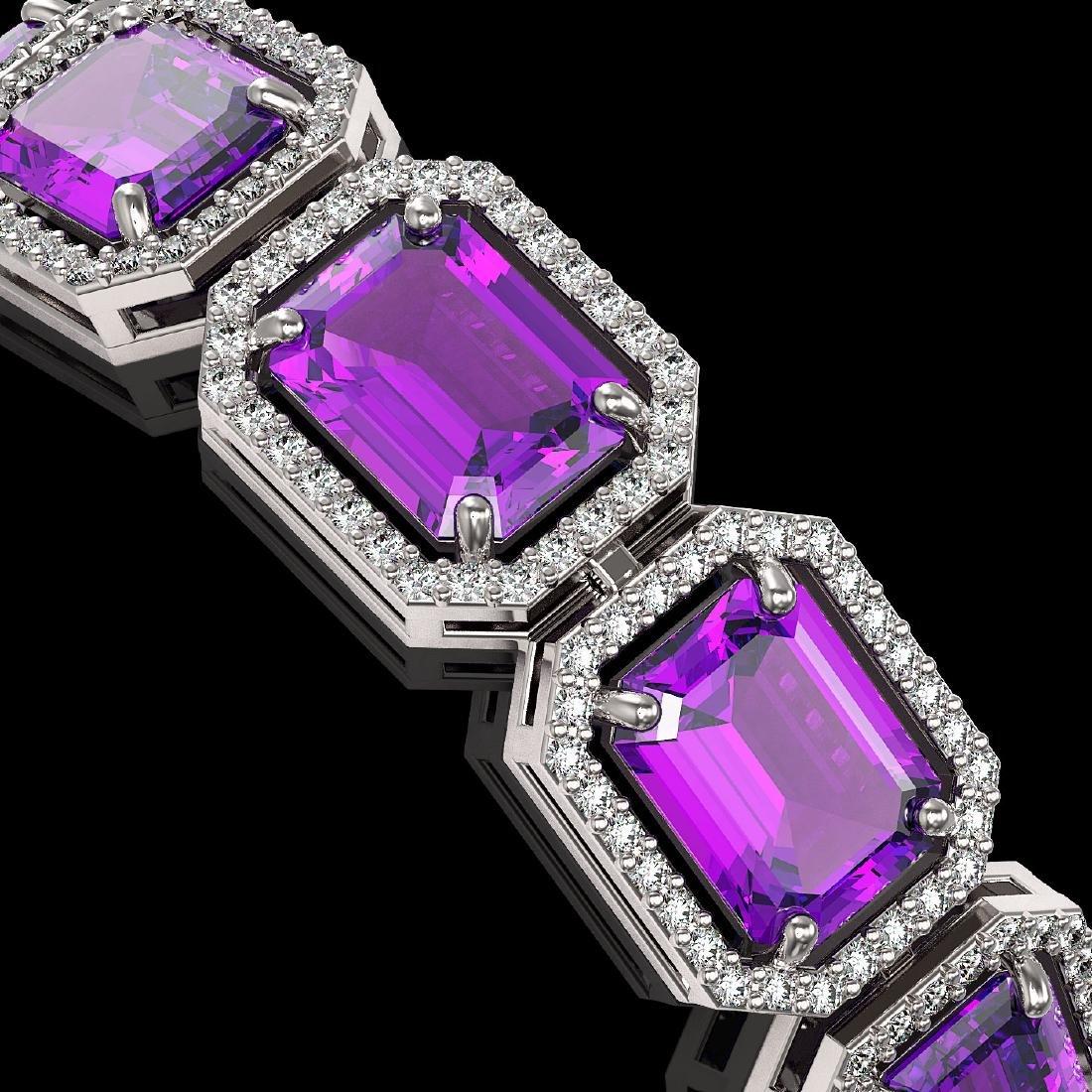 34.86 CTW Amethyst & Diamond Halo Bracelet 10K White - 3