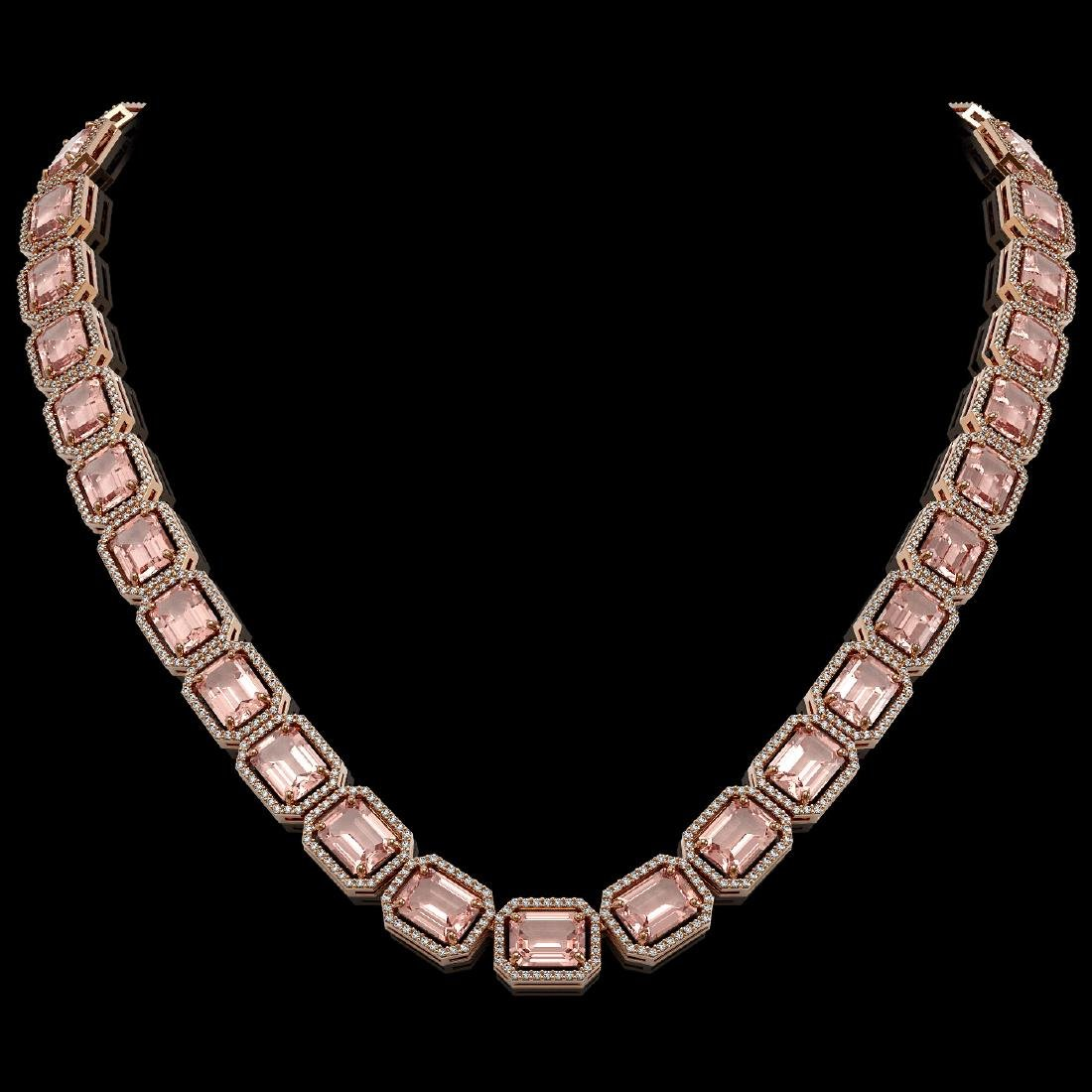 81.64 CTW Morganite & Diamond Halo Necklace 10K Rose