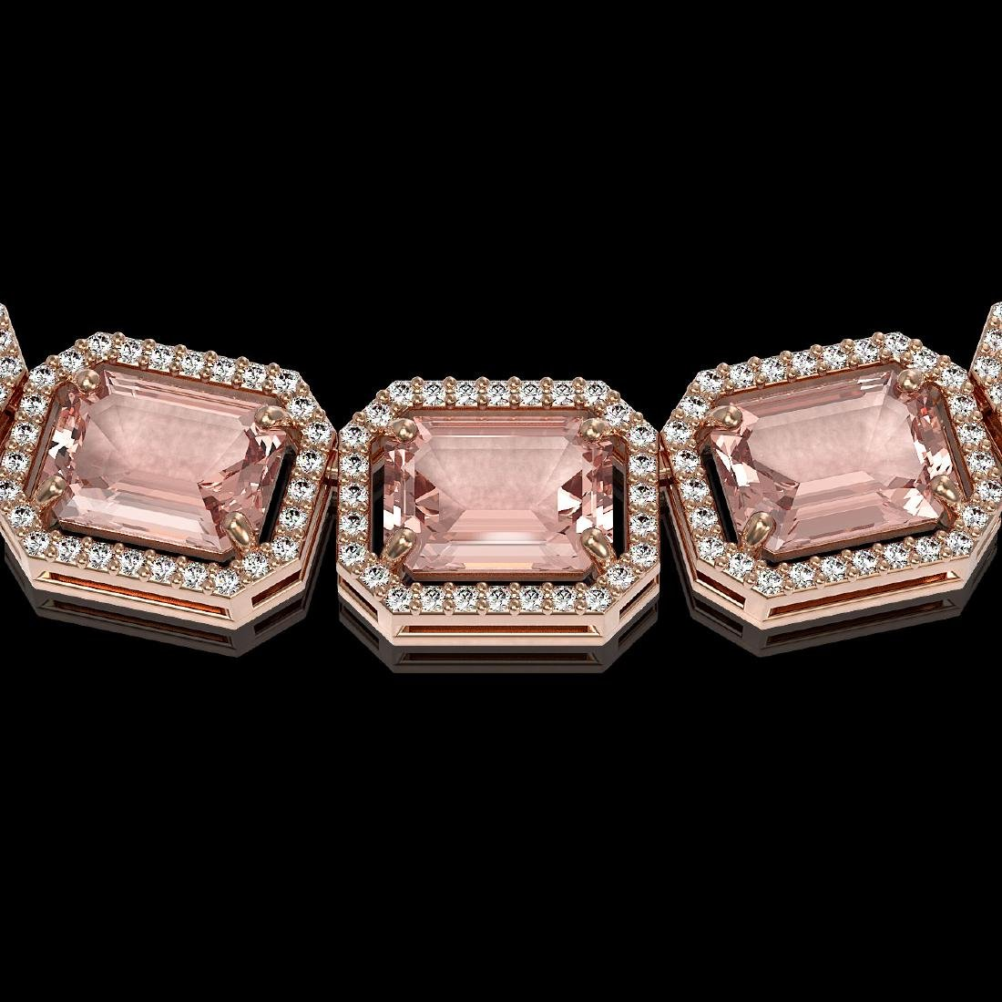 81.64 CTW Morganite & Diamond Halo Necklace 10K Rose - 3