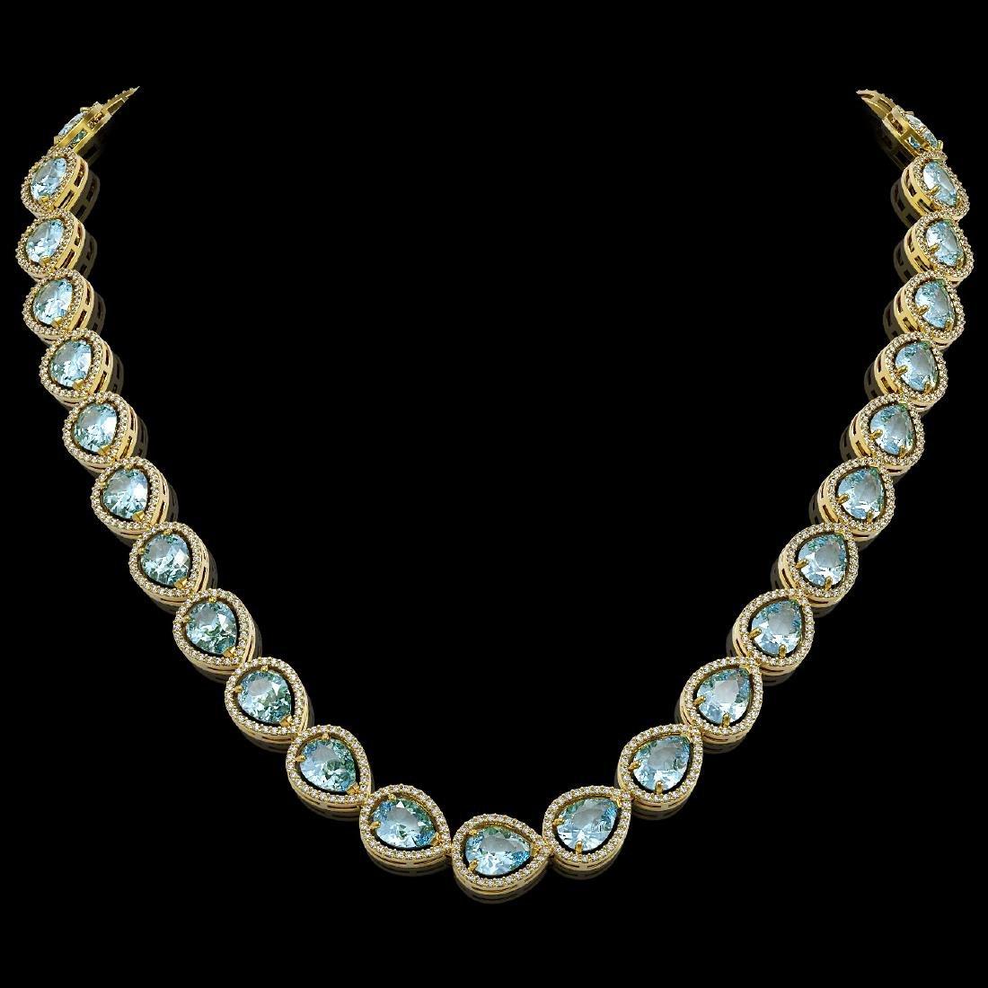 41.6 CTW Aquamarine & Diamond Halo Necklace 10K Yellow