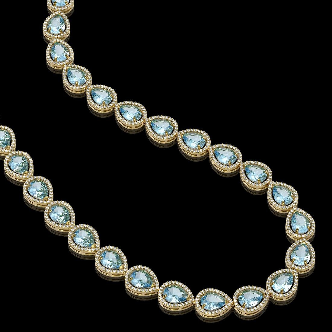 41.6 CTW Aquamarine & Diamond Halo Necklace 10K Yellow - 2