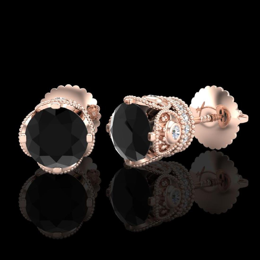 1.85 CTW Fancy Black Diamond Solitaire Art Deco Stud - 2
