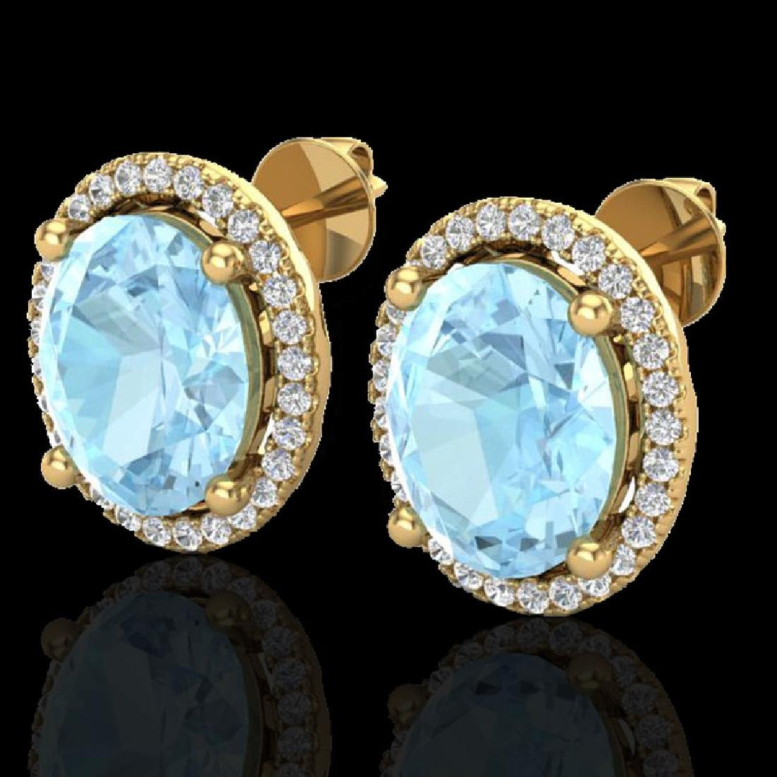 5 CTW Aquamarine & Micro Pave VS/SI Diamond Earrings