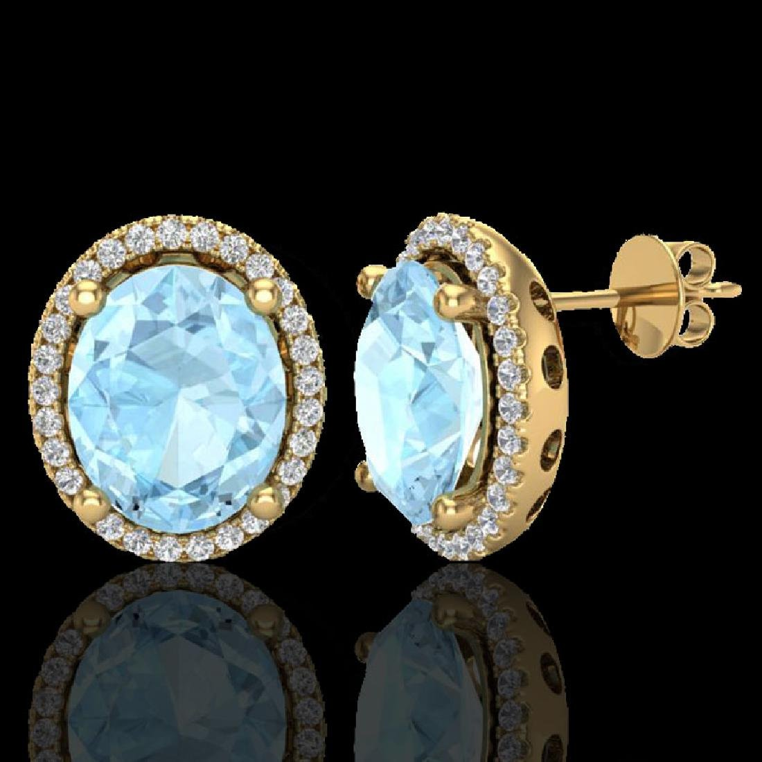 5 CTW Aquamarine & Micro Pave VS/SI Diamond Earrings - 2