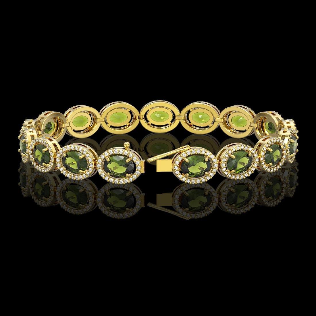 21.71 CTW Tourmaline & Diamond Halo Bracelet 10K Yellow - 2