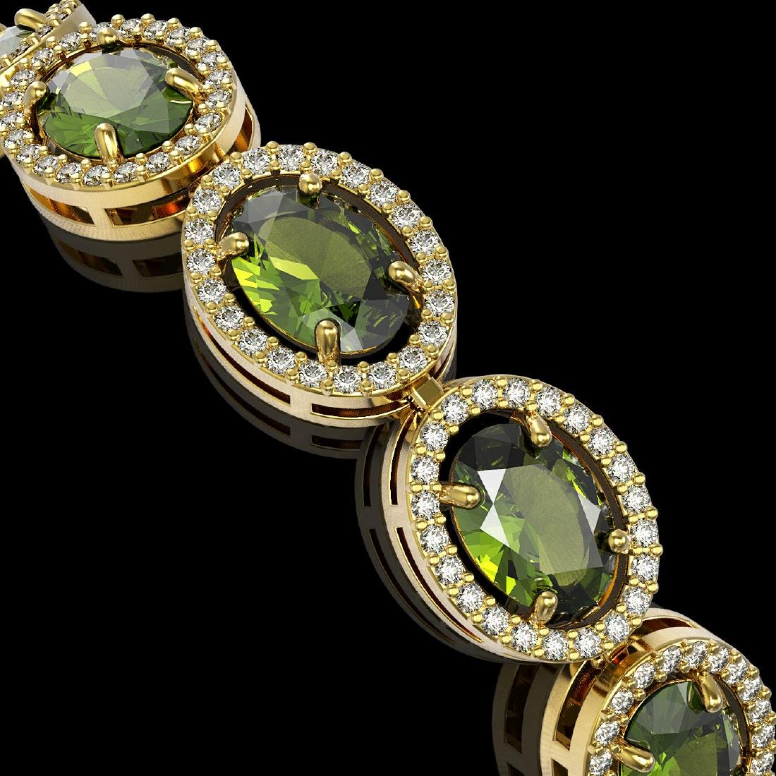 21.71 CTW Tourmaline & Diamond Halo Bracelet 10K Yellow - 3
