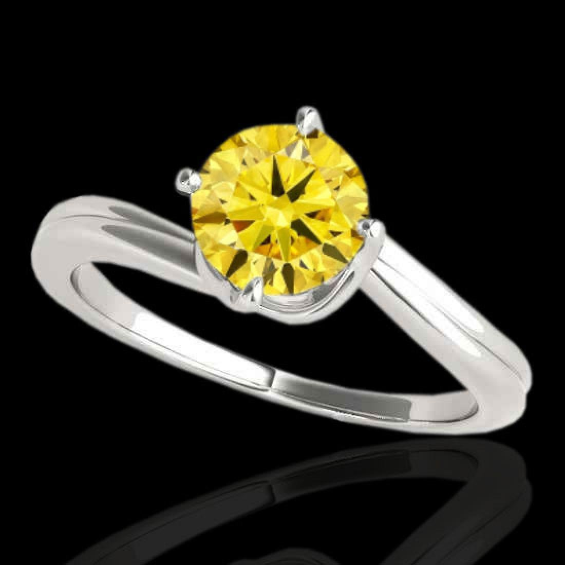1 CTW Certified SI/I Fancy Intense Yellow Diamond