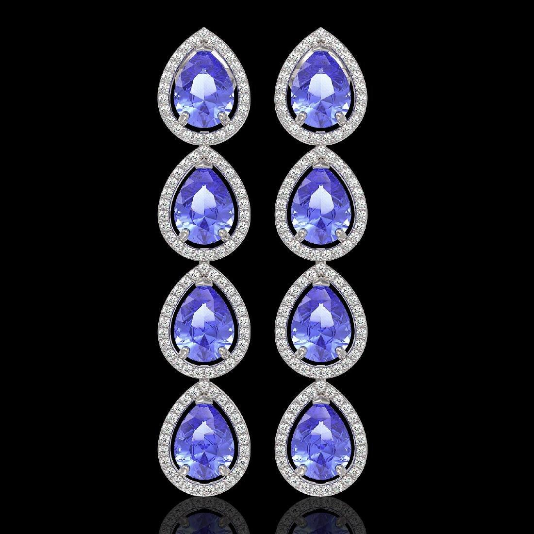 11.2 CTW Tanzanite & Diamond Halo Earrings 10K White