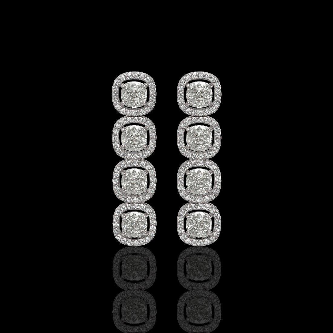 5.28 CTW Cushion Diamond Designer Earrings 18K White