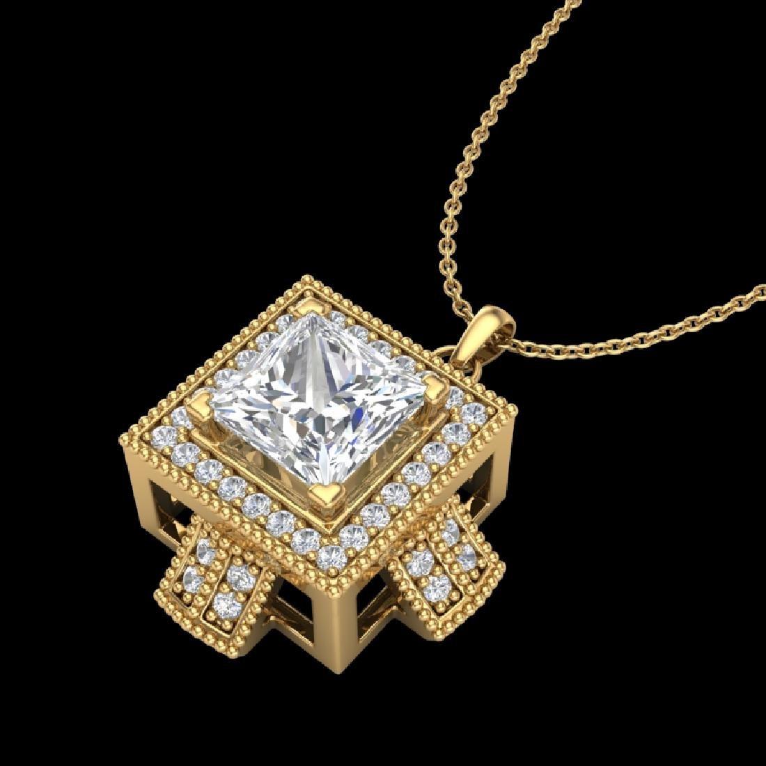 1.46 CTW Princess VS/SI Diamond Micro Pave Necklace 18K