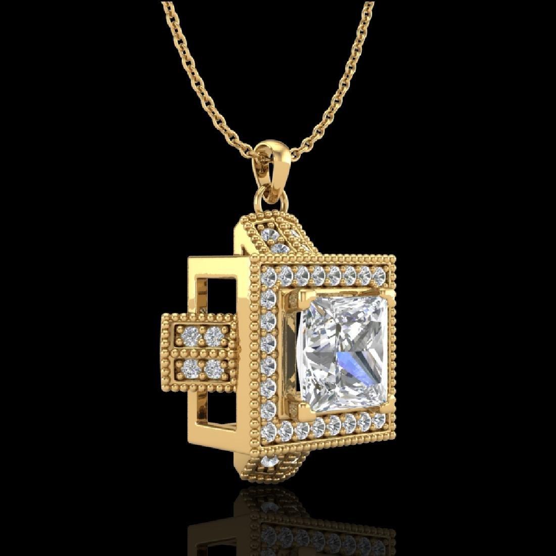 1.46 CTW Princess VS/SI Diamond Micro Pave Necklace 18K - 2