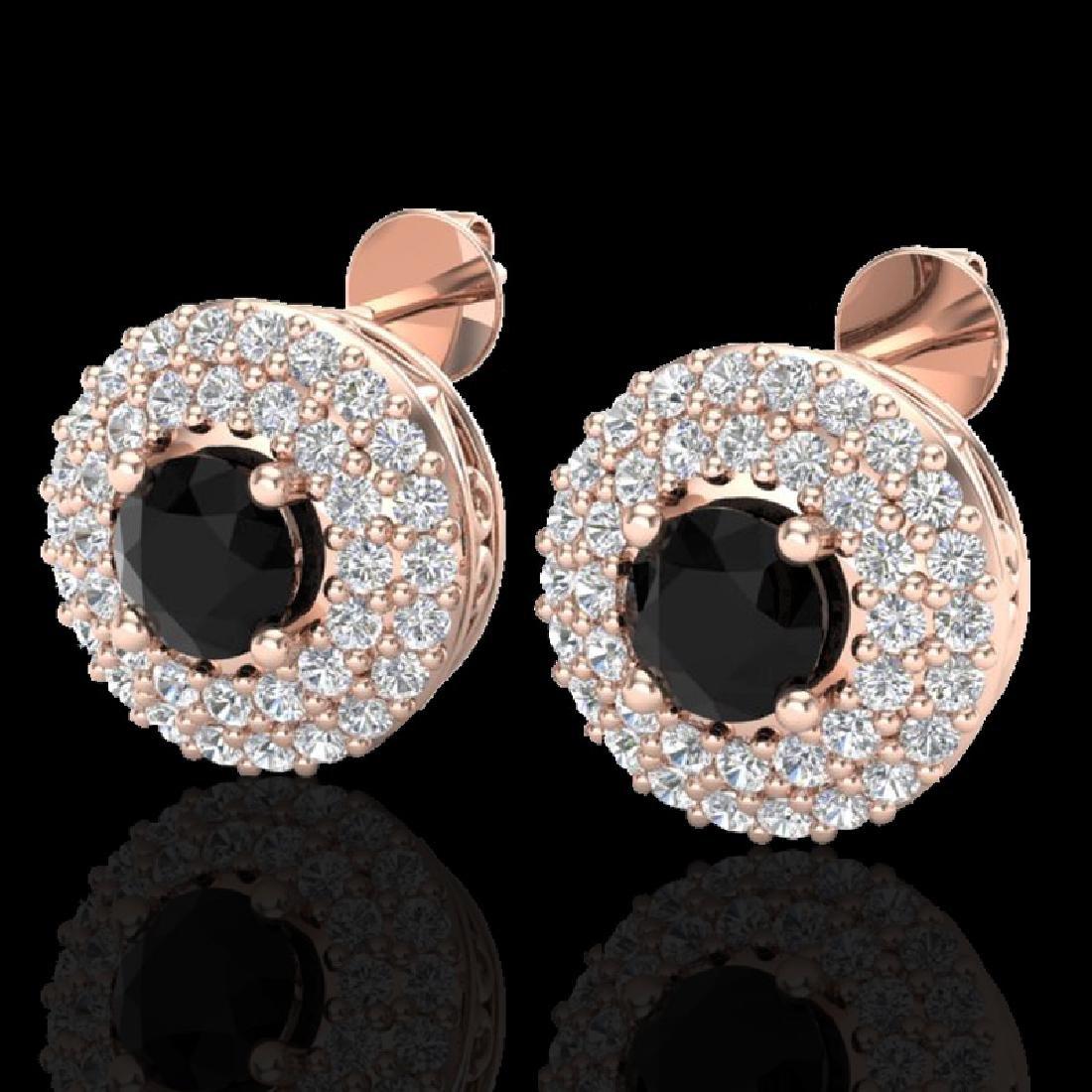 1.40 CTW Micro VS/SI Diamond Designer Earrings 14K Rose