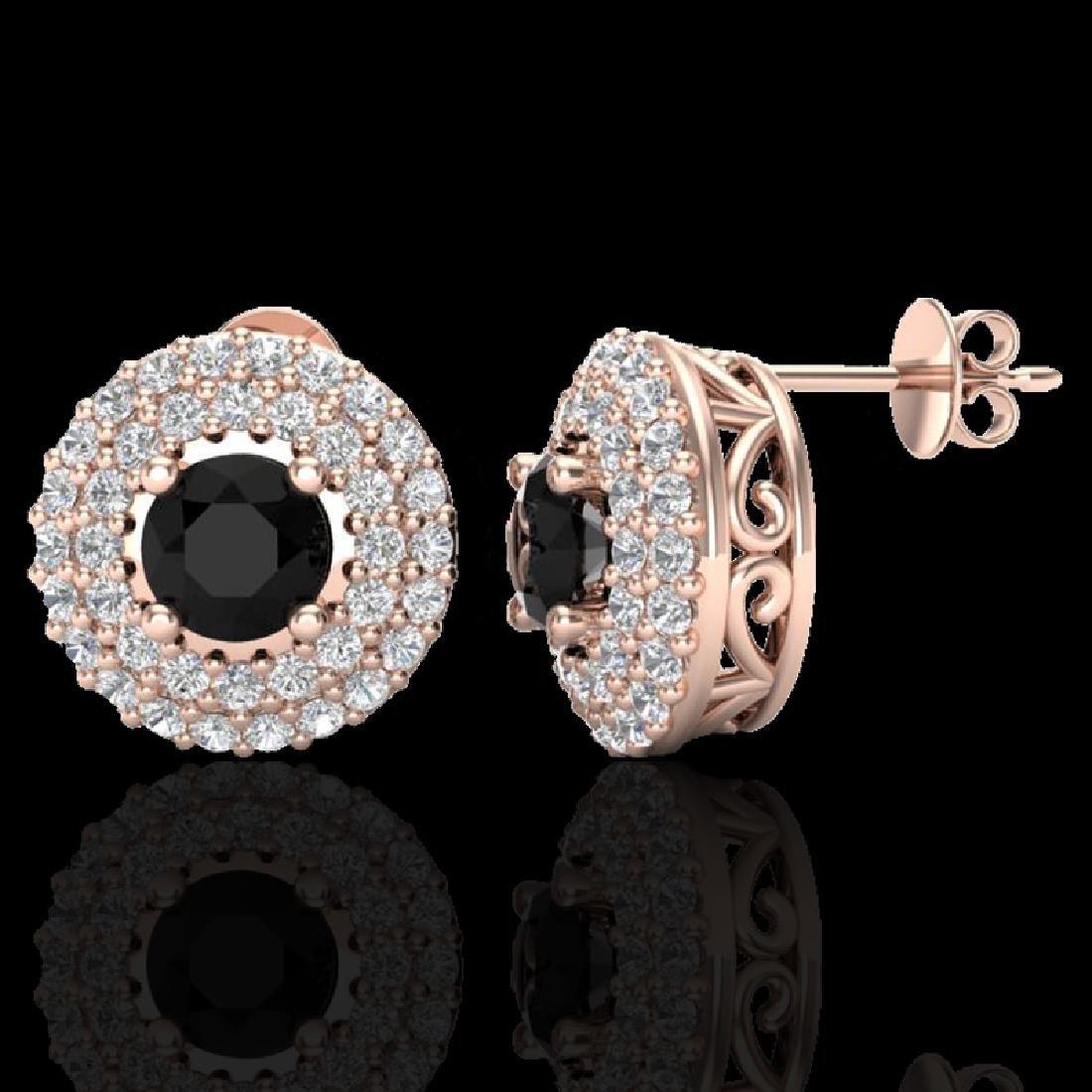 1.40 CTW Micro VS/SI Diamond Designer Earrings 14K Rose - 2
