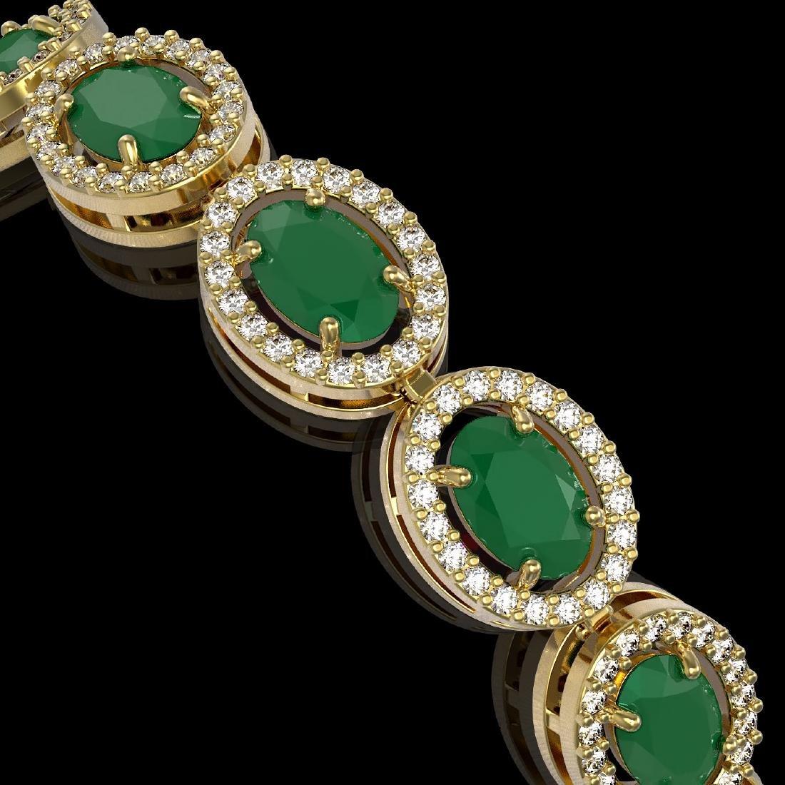 15.2 CTW Emerald & Diamond Halo Bracelet 10K Yellow - 2