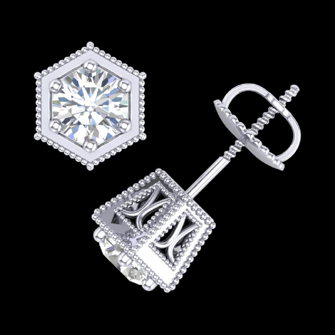 1.15 CTW VS/SI Diamond Solitaire Art Deco Stud Earrings - 3