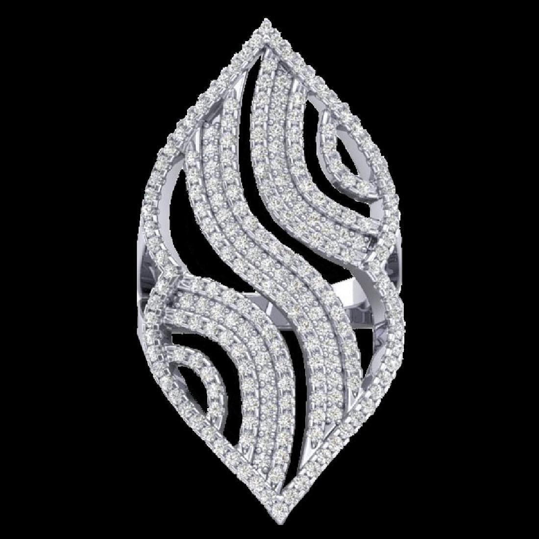 2 CTW Micro Pave VS/SI Diamond Designer Ring 14K White - 2