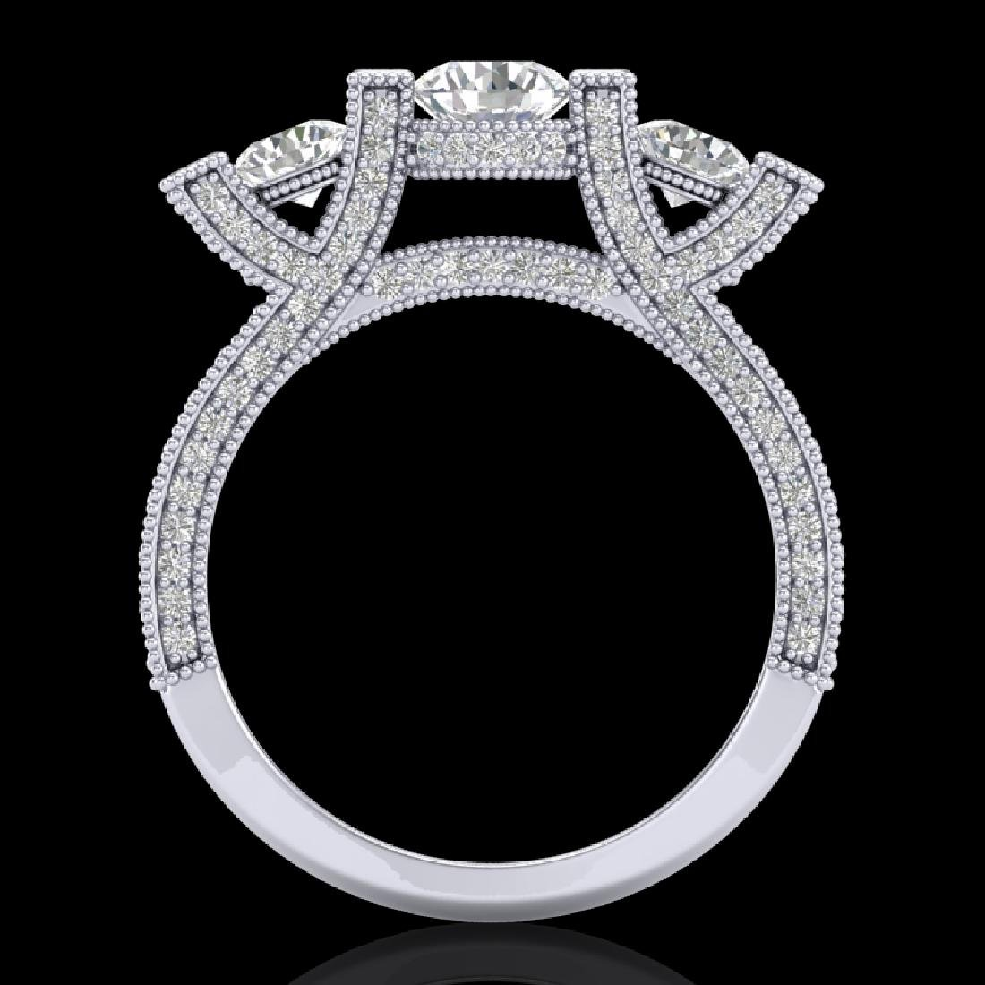 2.3 CTW VS/SI Diamond Solitaire Micro Pave 3 Stone Ring
