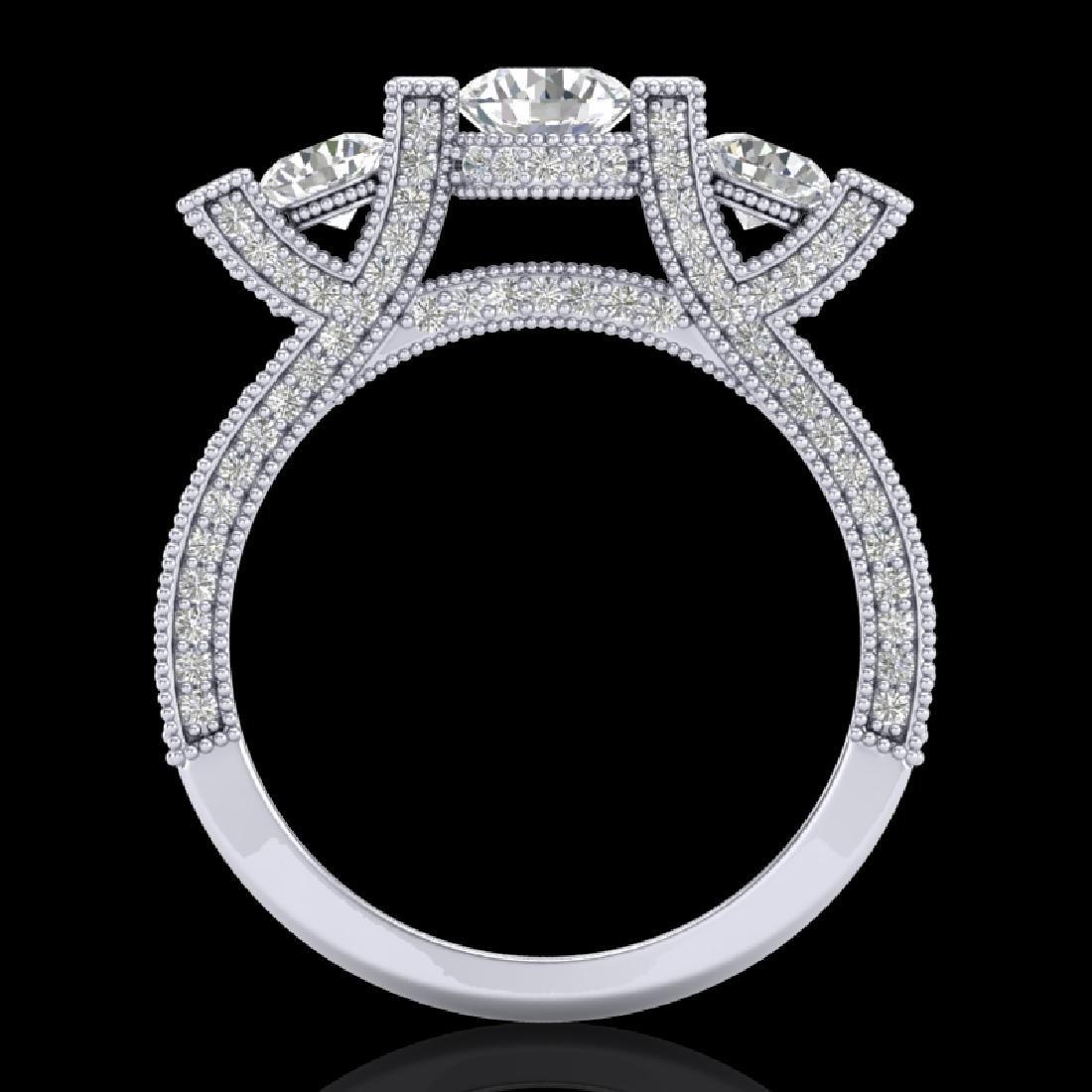 2.3 CTW VS/SI Diamond Solitaire Micro Pave 3 Stone Ring