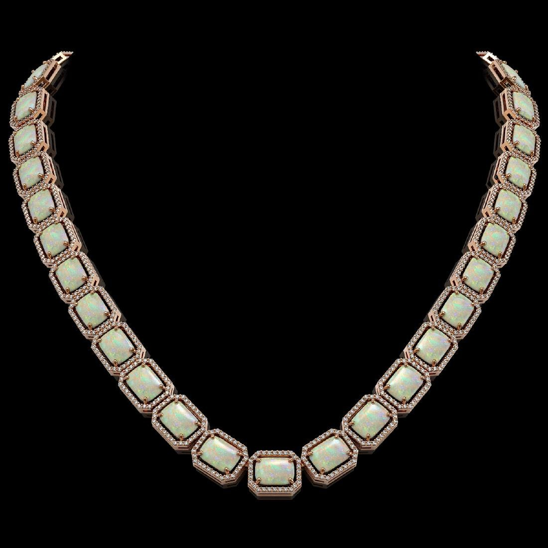 53.59 CTW Opal & Diamond Halo Necklace 10K Rose Gold