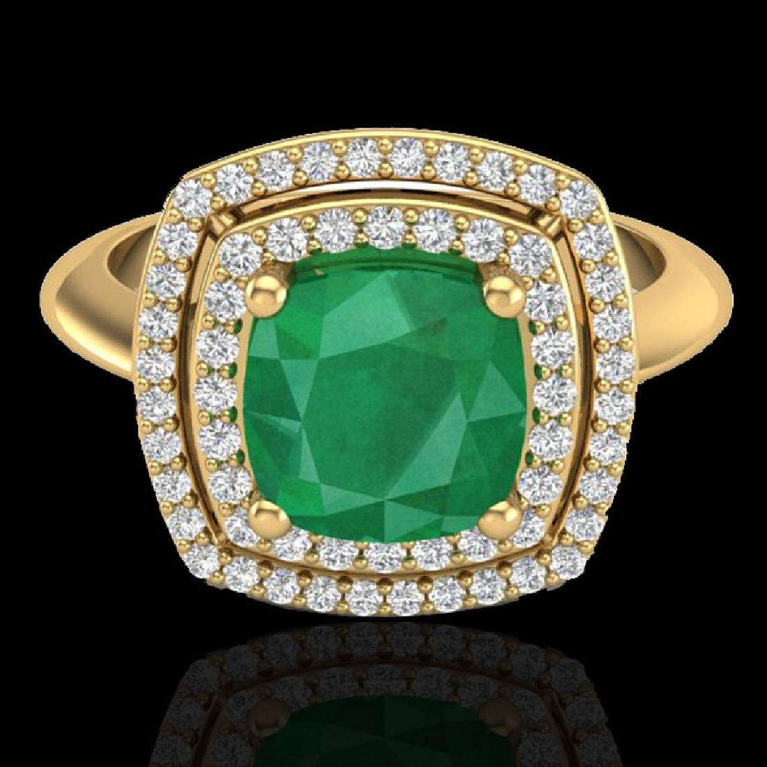2.52 CTW Emerald & Micro VS/SI Diamond Pave Halo Ring