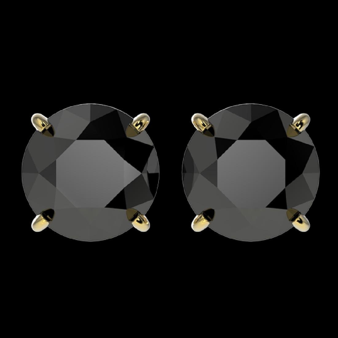 3.70 CTW Fancy Black VS Diamond Solitaire Stud Earrings