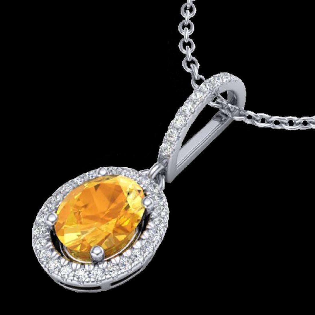 1.75 CTW Citrine & Micro Pave VS/SI Diamond Necklace - 2