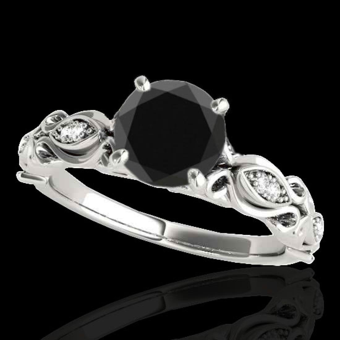 1.1 CTW Certified VS Black Diamond Solitaire Antique