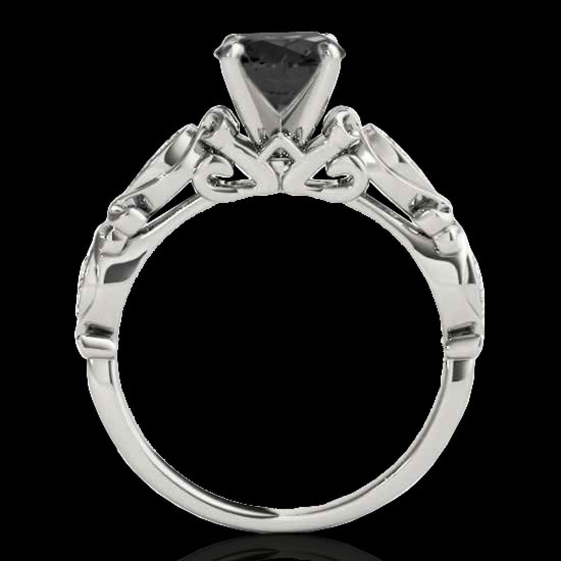 1.1 CTW Certified VS Black Diamond Solitaire Antique - 2