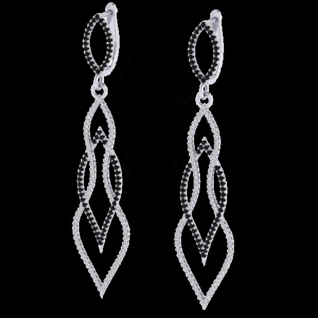 1.90 CTW Micro Pave Black & VS/SI Diamond Earrings 14K