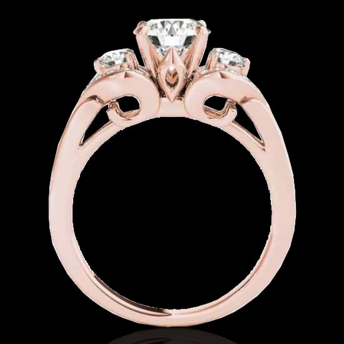 1.45 CTW H-SI/I Certified Diamond 3 Stone Ring 10K Rose - 2