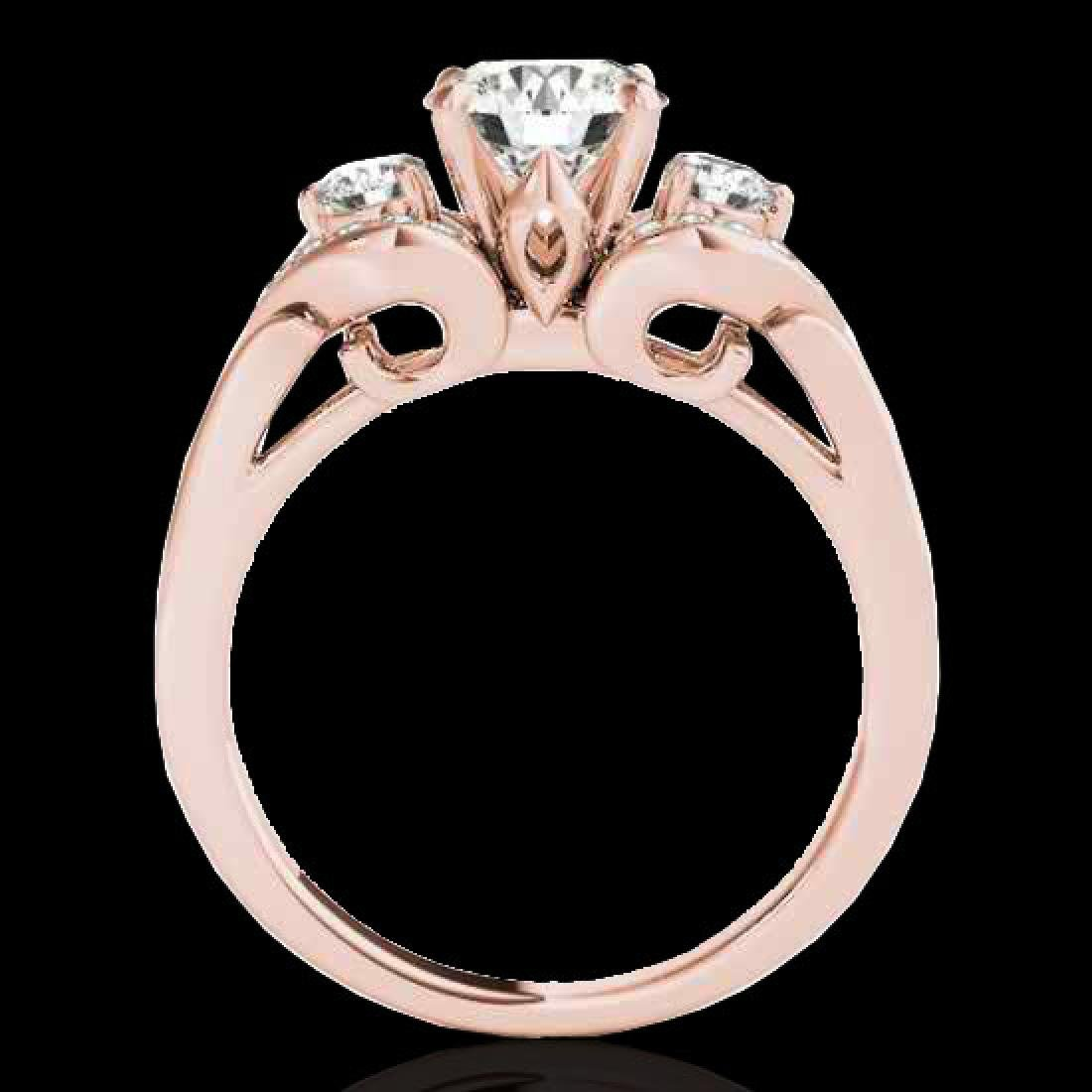 1.45 CTW H-SI/I Certified Diamond 3 Stone Ring 10K Rose - 2