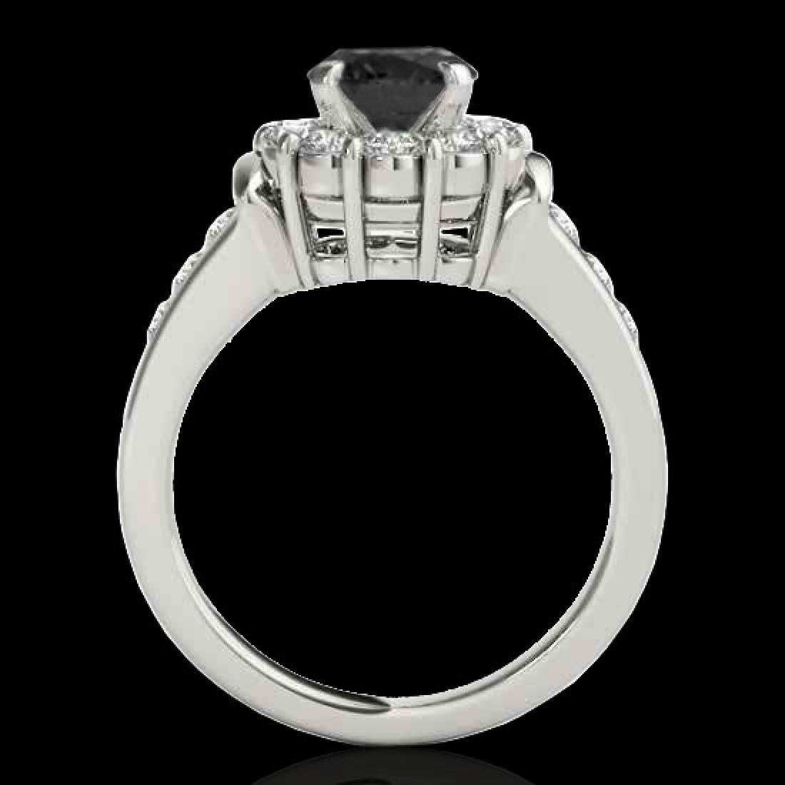 1.9 CTW Certified VS Black Diamond Solitaire Halo Ring - 2