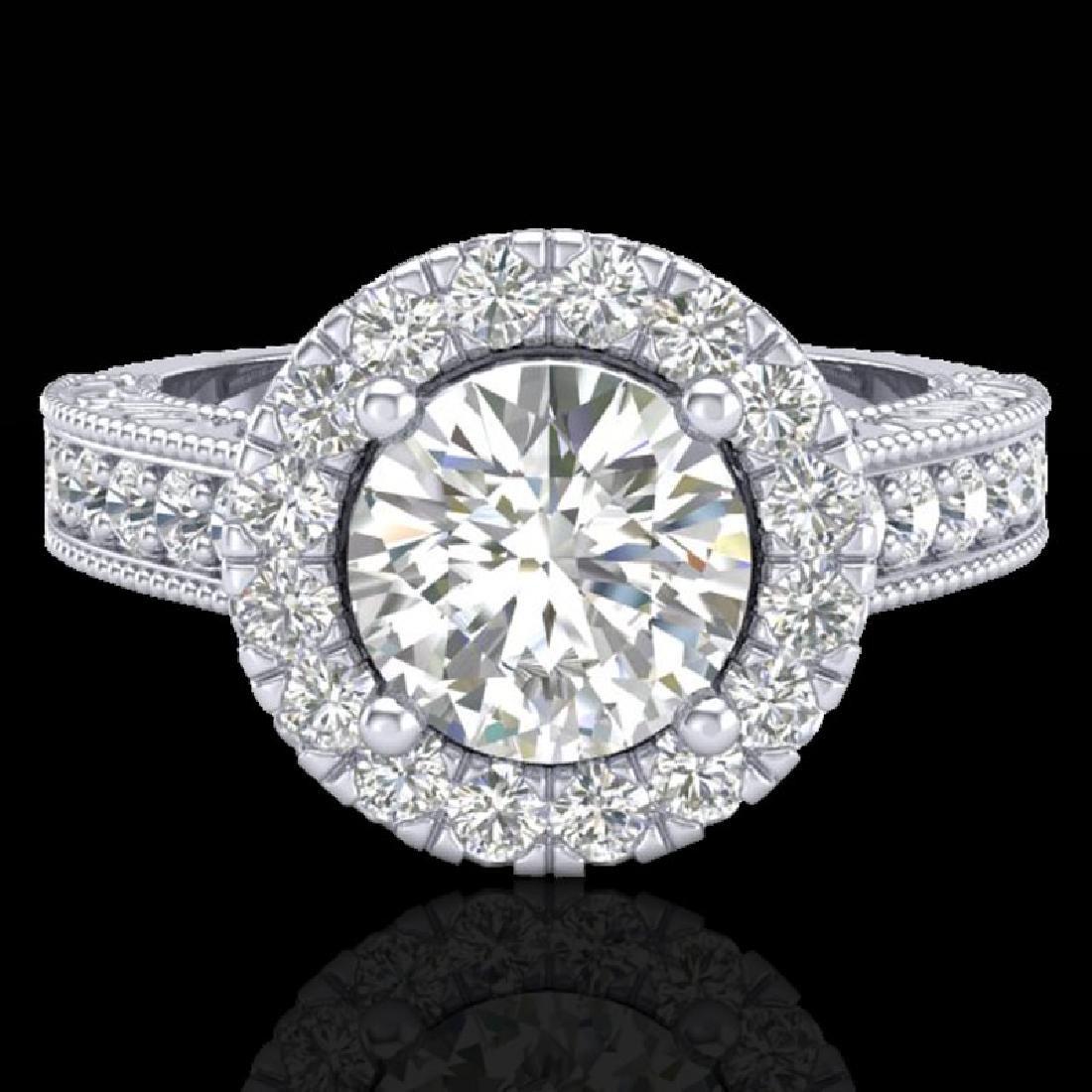 2.25 CTW Vintage Solitaire VS/SI Diamond Halo Ring 14K