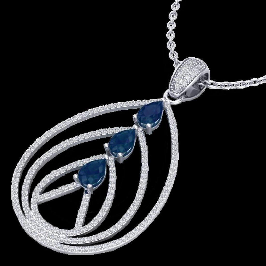 2 CTW Sapphire & Micro Pave VS/SI Diamond Designer