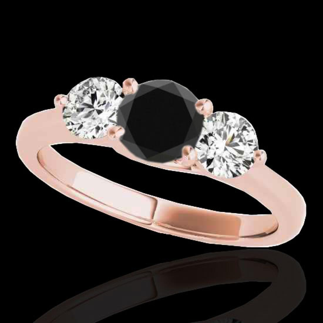 3 CTW Certified VS Black Diamond 3 Stone Solitaire Ring