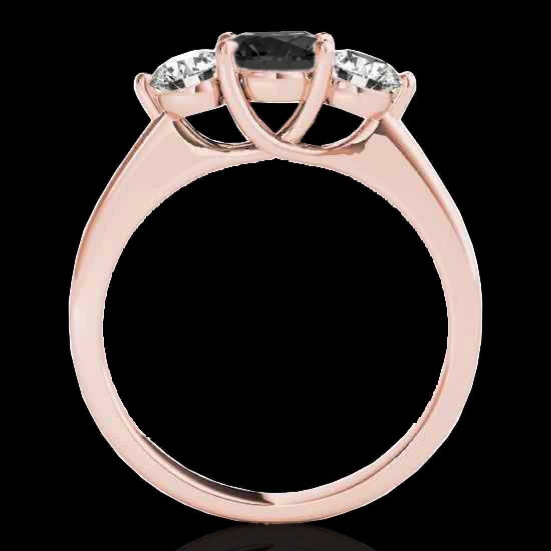 3 CTW Certified VS Black Diamond 3 Stone Solitaire Ring - 2