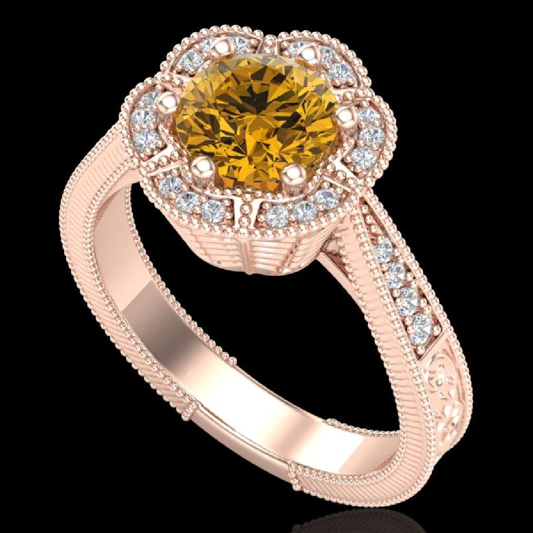 1.33 CTW Intense Fancy Yellow Diamond Engagement Art
