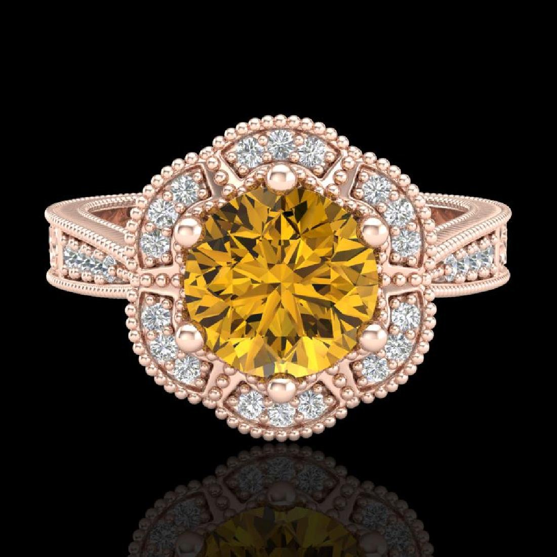 1.33 CTW Intense Fancy Yellow Diamond Engagement Art - 2