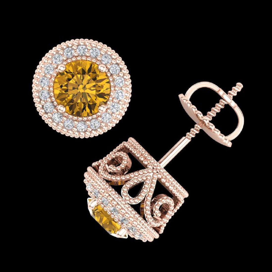 1.55 CTW Intense Fancy Yellow Diamond Art Deco Stud - 3