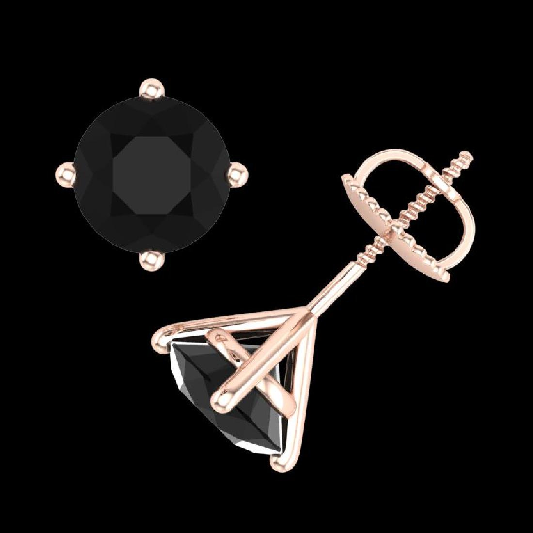 2.5 CTW Fancy Black Diamond Solitaire Art Deco Stud - 3
