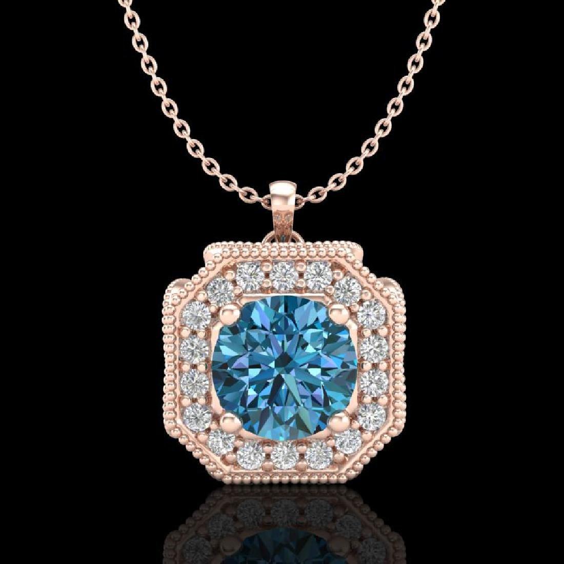 1.54 CTW Fancy Intense Blue Diamond Solitaire Art Deco