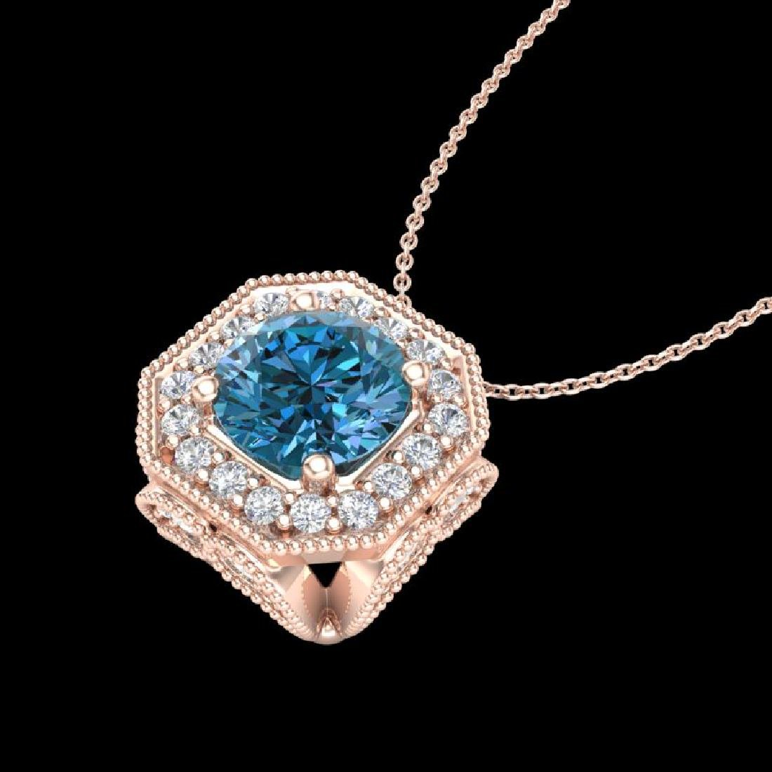 1.54 CTW Fancy Intense Blue Diamond Solitaire Art Deco - 2