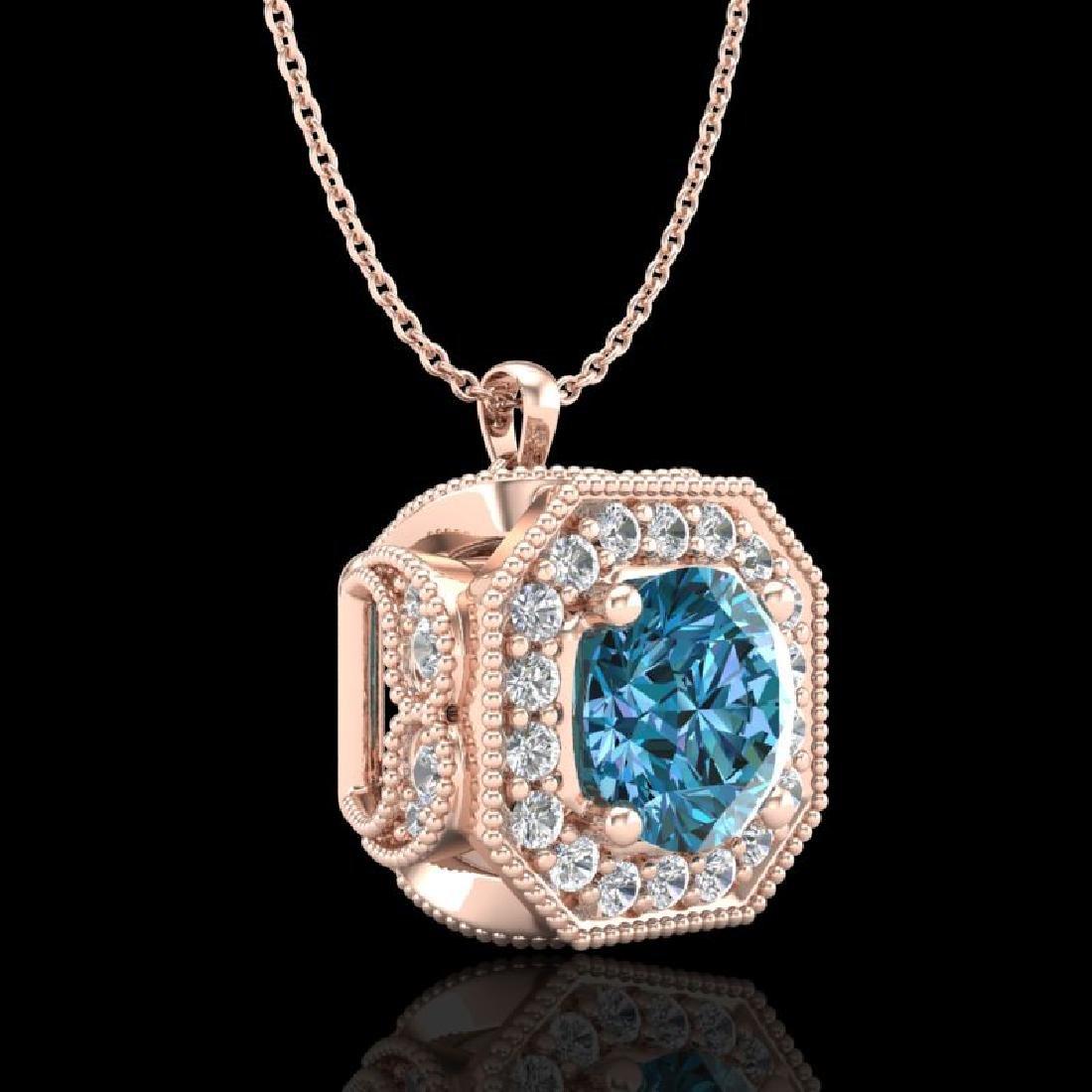 1.54 CTW Fancy Intense Blue Diamond Solitaire Art Deco - 3