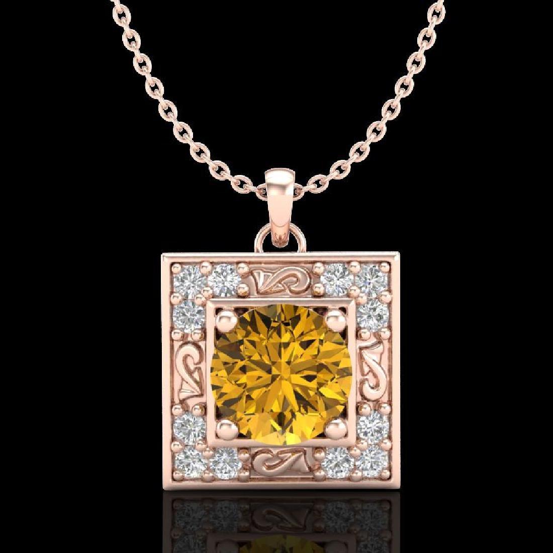 1.02 CTW Intense Fancy Yellow Diamond Art Deco Stud