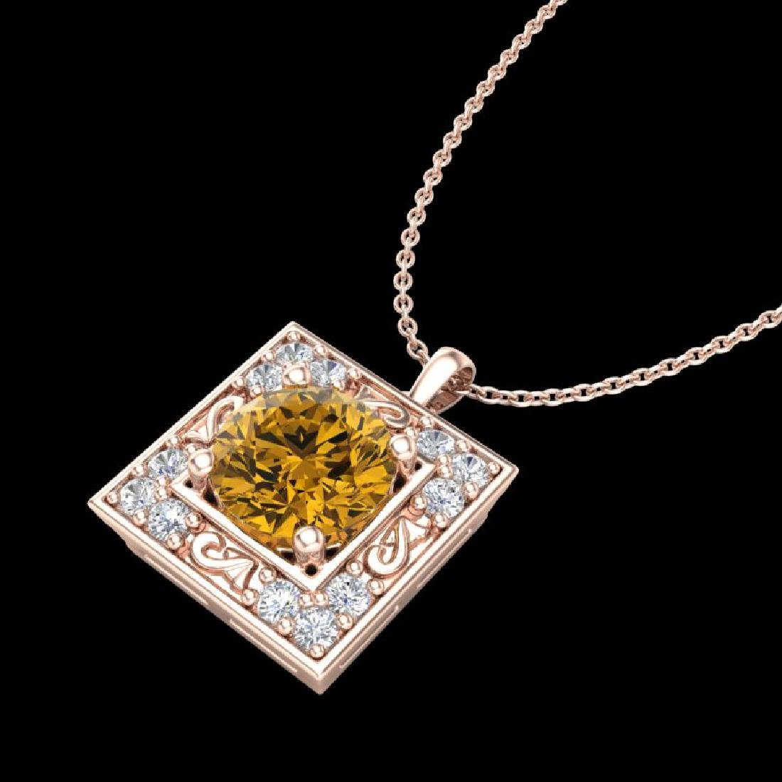 1.02 CTW Intense Fancy Yellow Diamond Art Deco Stud - 2
